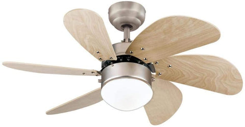 30-Inch Ceiling Fan in Brushed Aluminum Finish with Dimmable LED Light Fixture in Opal Frosted Glass with Light Maple Blades