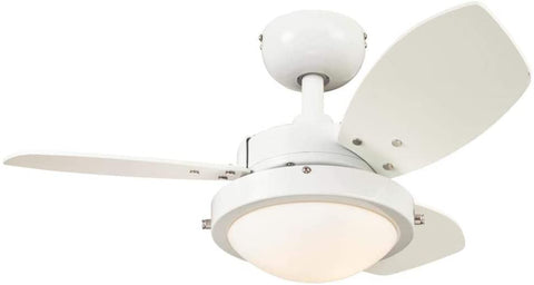 30-Inch Wengue Indoor Ceiling Fan in White Finish with Dimmable LED Light Fixture in Opal Frosted Glass with Reversible White/Beech Blades