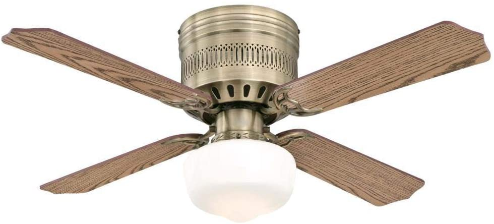 42-Inch Casanova Supreme Indoor Ceiling Fan in Antique Brass Finish with LED Light Fixture in Opal Schoolhouse Glass with Reversible Oak/Walnut Blades
