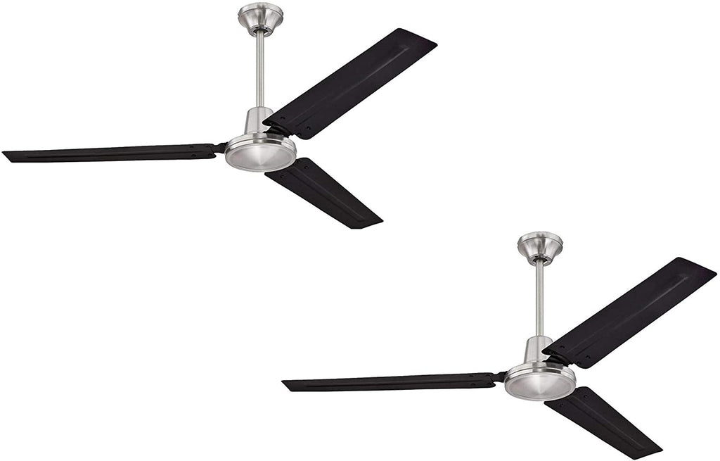 56 Inch Three Blade Indoor Ceiling Fan, with Black Steel Blades in Brushed Nickel Finish - 2 Pack