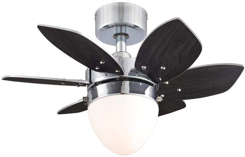24-Inch Origami Indoor Ceiling Fan with Dimmable LED Light Fixture in Chrome Finish with Reversible Wengue/Beech Blades in Opal Frosted Glass