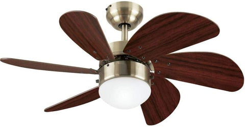 30-Inch Ceiling Fan in Antique Brass Finish with Dimmable LED Light Fixture in Opal Frosted Glass with Walnut Blades
