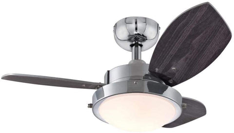 30-Inch Wengue Indoor Ceiling Fan in Chrome Finish with Dimmable LED Light Fixture in Opal Frosted Glass with Reversible Wengue/Beech Blades