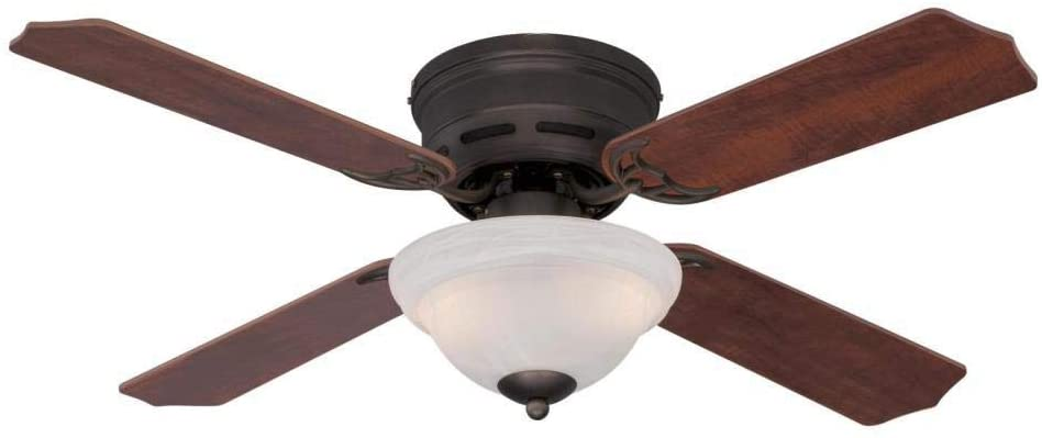 42-Inch Indoor Ceiling Fan in Oil Rubbed Bronze with Dimmable LED Light Fixture in White Alabaster Glass Bowl with Reversible with Reversible Applewood/Cherry Blades