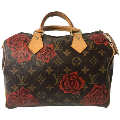 Customized, preowned Louis Vuitton purse with hand painted artwork painted by a New Vintage Handbags artist.
