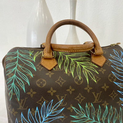 Colorful Fawns Artwork, Painted on a Louis Vuitton Speedy 30 Bag by New Vintage