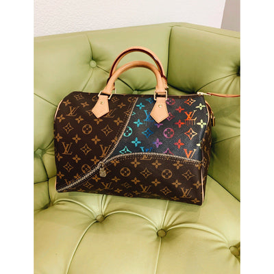Unzipped Monogramed Gradients Artwork, Painted on a Louis Vuitton Speedy Bag by New Vintage