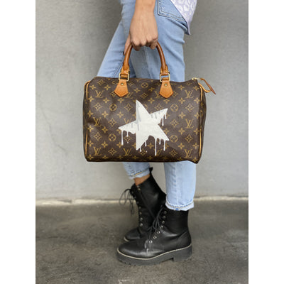 Melting Summer Star Artwork, Painted on a Louis Vuitton Speedy 30 Bag by New Vintage
