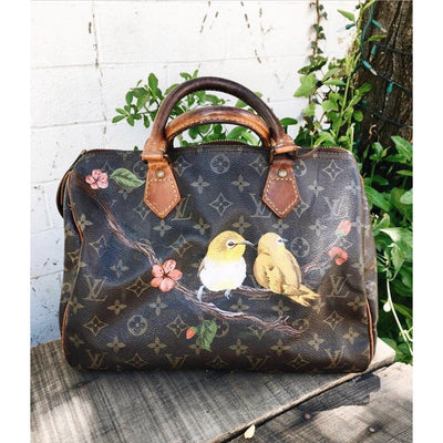Hand painted vintage bird design painted onto a preowned Louis Vuitton purse by New Vintage Artists.