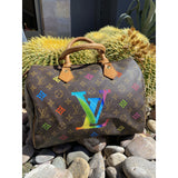 Monogram with Flower Spots Artwork, Painted on a Louis Vuitton Speedy 30