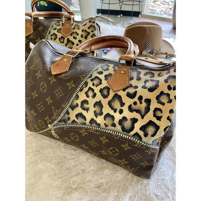 Unzipped Cheetah Artwork, Painted on a Louis Vuitton Speedy Bag Bag by New Vintage