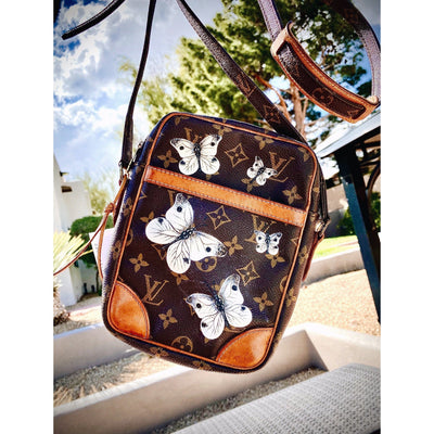 Classic Butterfly Artwork, Painted on a Louis Vuitton Danube  by New Vintage