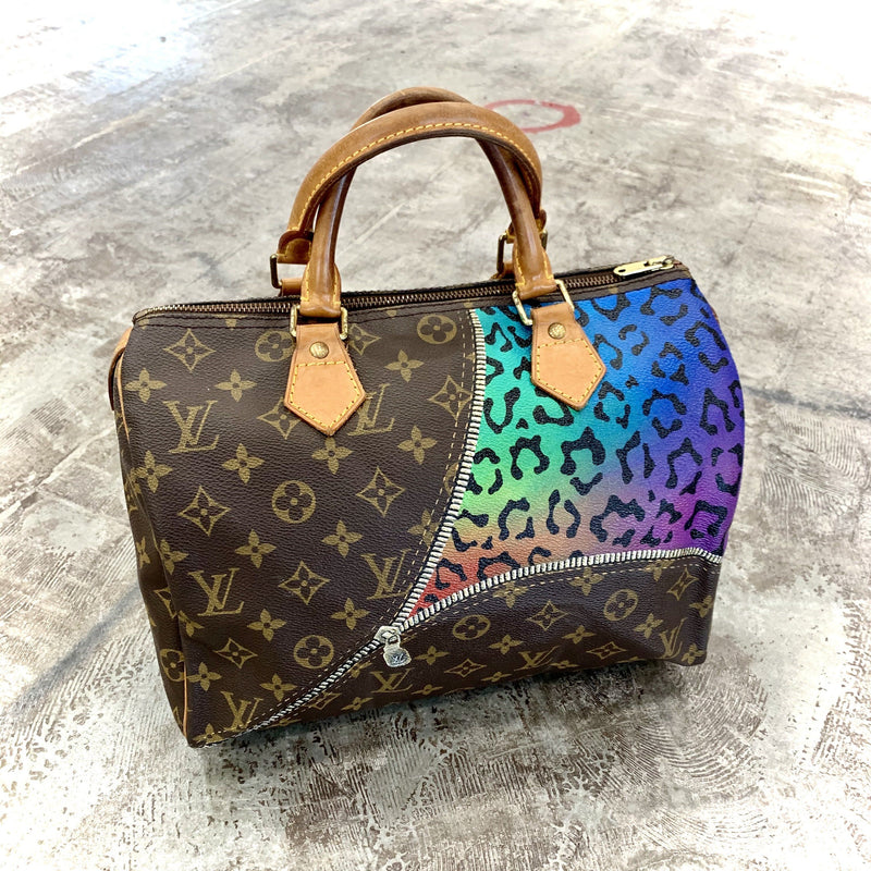 Unzipped Multi Color Cheetah Artwork, Painted on a Louis Vuitton Speedy Bag by New Vintage