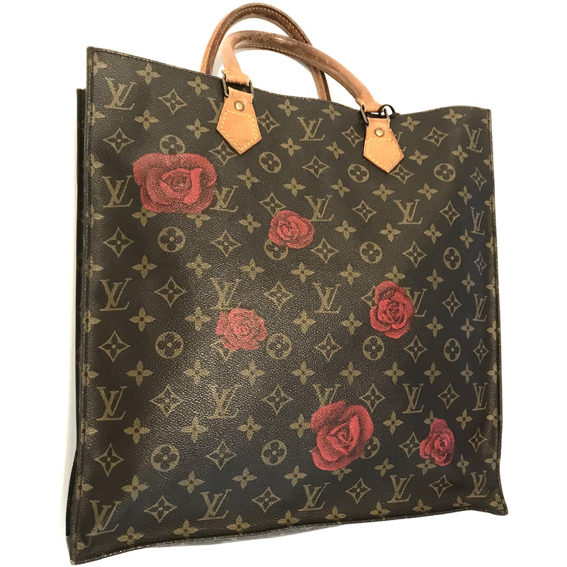 Falling Kisses or Roses Artwork, Painted on a Louis Vuitton Sac Plat Bag by New Vintage
