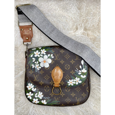 White floral Artwork, Painted on a Louis Vuitton St. Cloud Bag by New Vintage