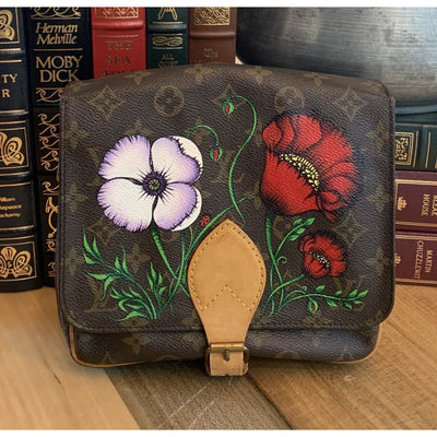 Poppies Artwork, Painted on a Louis Vuitton Cartouchiere MM Bag by New Vintage