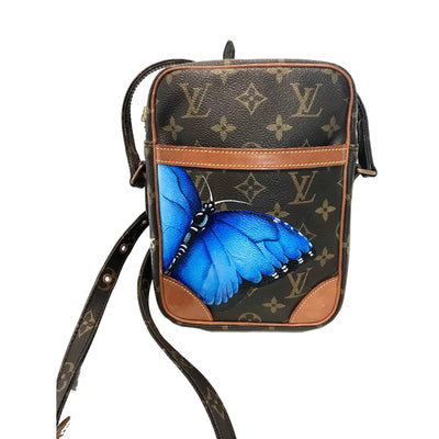 Blue Butterfly Artwork, Painted on a Louis Vuitton Danube Bag by New Vintage