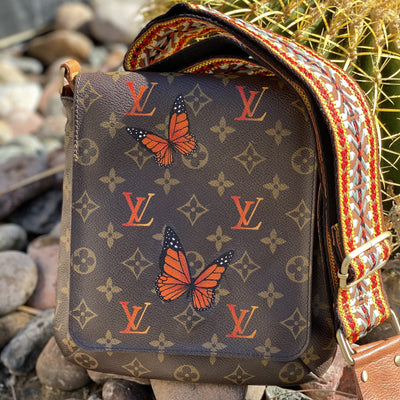 Autumn Monarch Artwork, Painted on a Louis Vuitton Salsa Bag by New Vintage