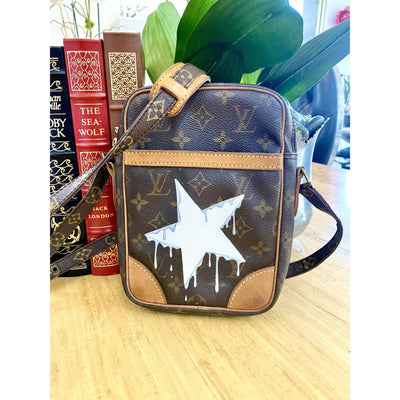 Dripping Star Artwork, painted on a Louis Vuitton Danube Bag by New Vintage