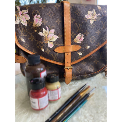 The Magnolia Artwork, Painted on a Louis Vuitton Saumur Bag by New Vintage