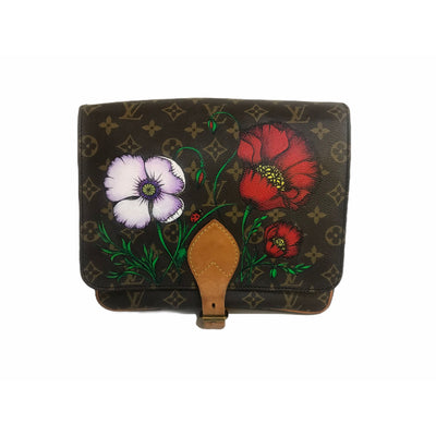 Customized, preowned Louis Vuitton purse with hand painted Military style artwork painted by a New Vintage Handbags artist.