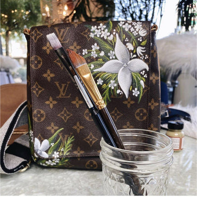 Winters Garden Artwork, Painted on a Louis Vuitton Salsa Bag by New Vintage
