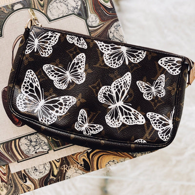 Butterflies in Lace Artwork, Painted on a Louis Vuitton Pouchette  by New Vintage