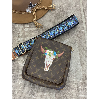 Bull Skull Artwork, Painted on a Louis Vuitton Salsa Bag by New Vintage