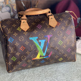 Monogram with Flower Spots Artwork, Painted on a Louis Vuitton Speedy 30 Bag by New Vintage