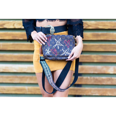 Stars & Hearts Artwork, Painted on a Louis Vuitton Tango Bag by New Vintage