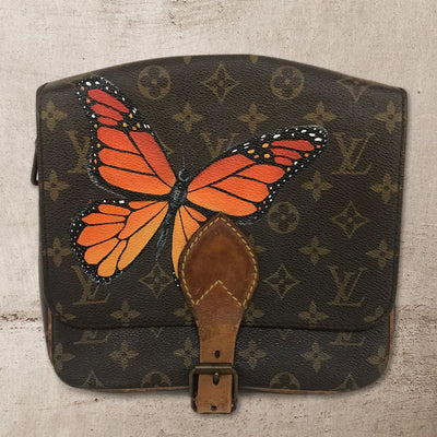 Butterflies Change of Seasons Artwork, Painted on a Louis Vuitton Cartouchiere Bag by New Vintage