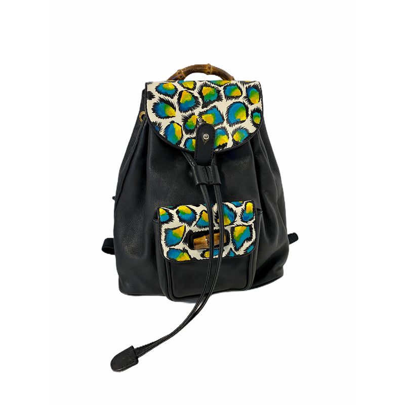 Happy Leopard Artwork, Painted on a Gucci Bamboo Backpack Bag by New Vintage