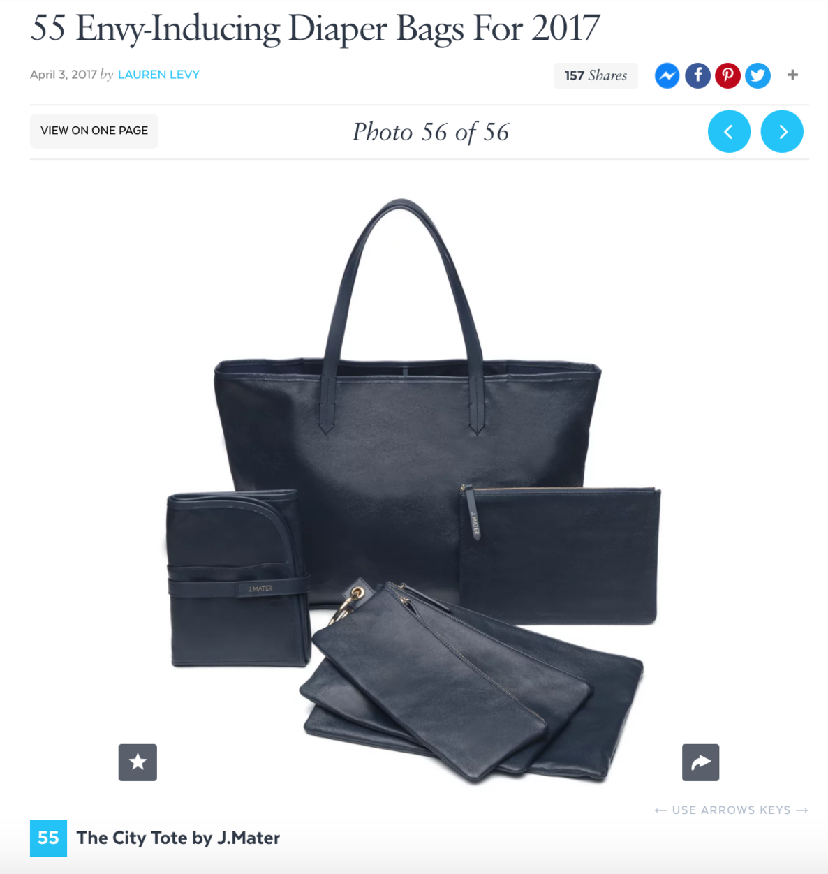 J.MATER diaper bag featured on PopSugar