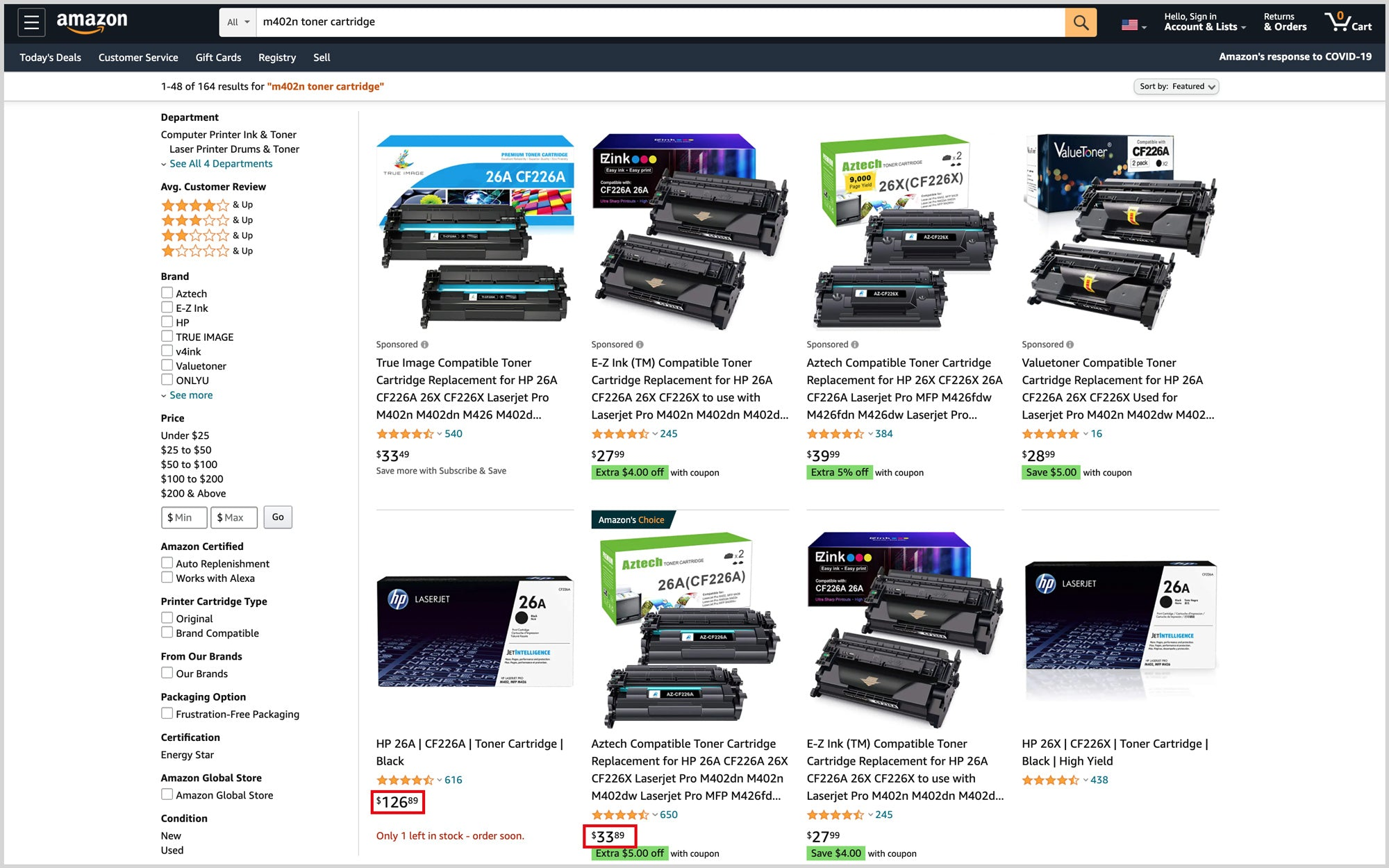 Searching for ink and toner on Amazon