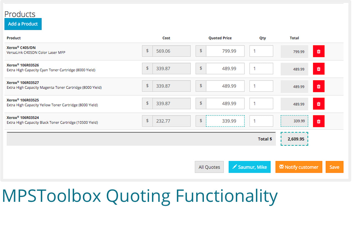 Screenshot of MPSToolbox's quoting functionality
