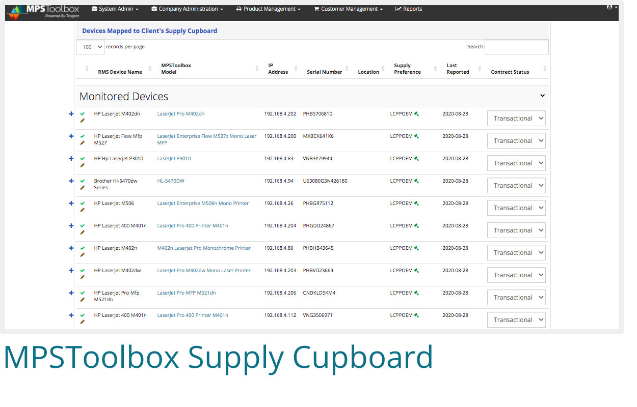 Screenshot of MPSToolbox's Supply Cupboard