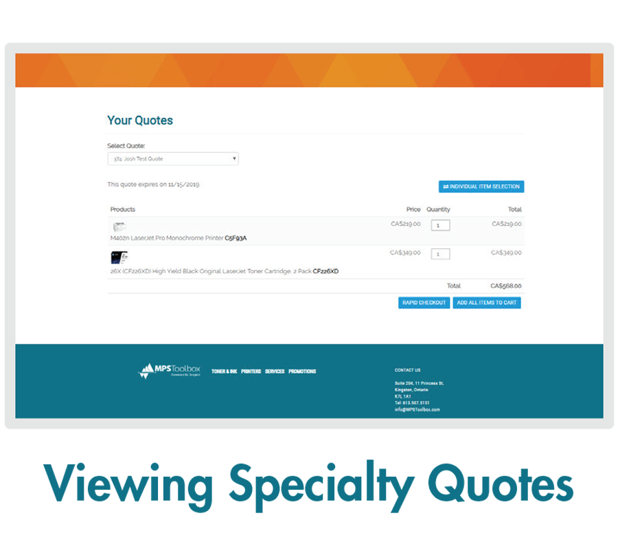 MPSToolbox Feature - Viewing Specialty Quotes