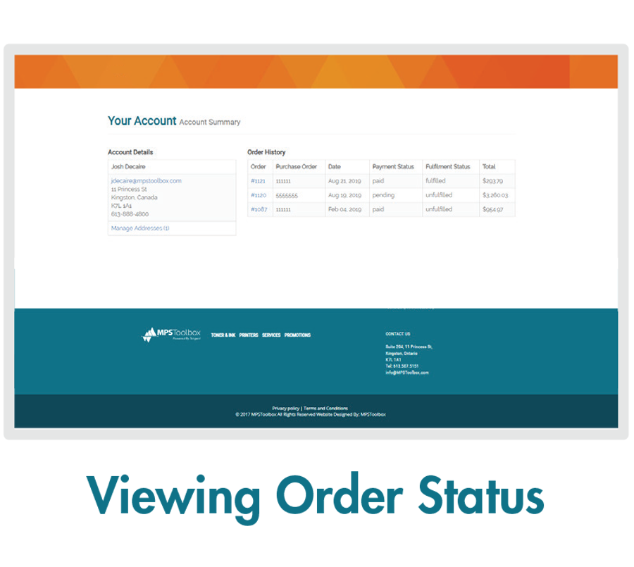 MPSToolbox Feature - Viewing Order Status