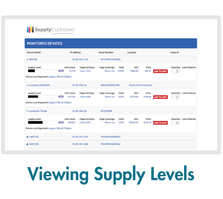 MPSToolbox Feature - Viewing Supply Levels