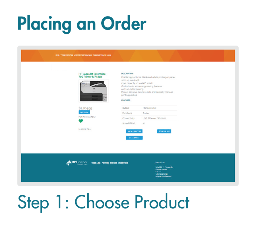 Placing an Order Online - Step 1