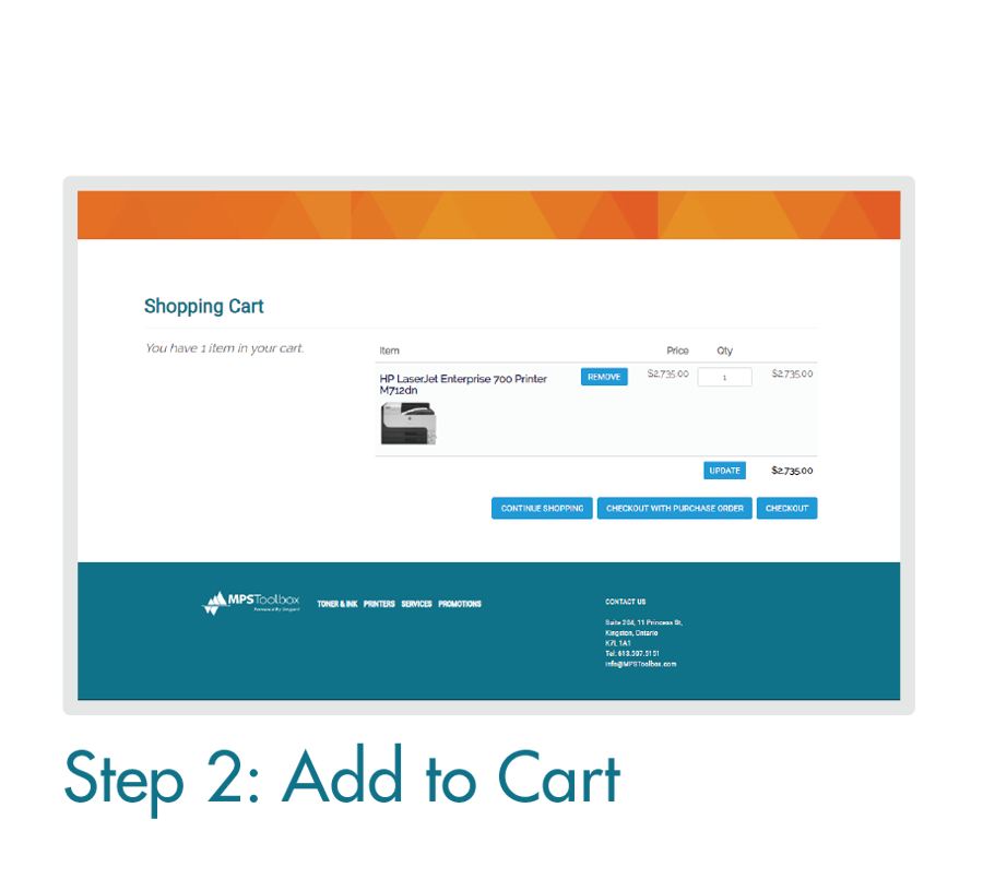 Placing an Order Online: Step 2