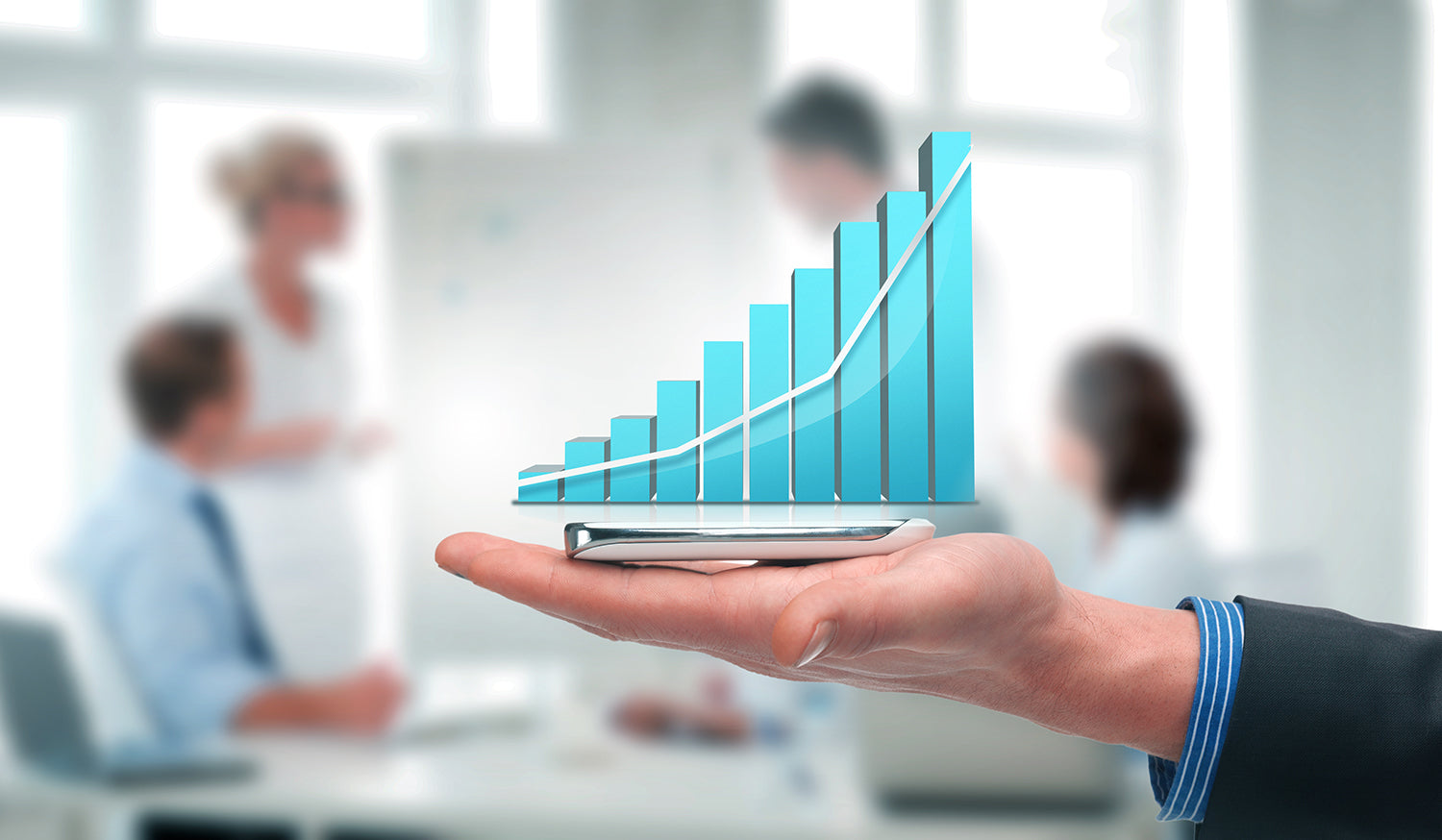 Increasing sales growth chart on a smartphone