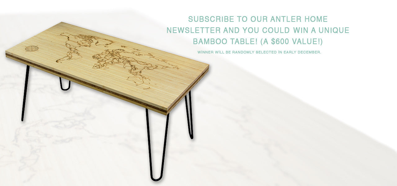 Sign Up for Our Newsletter and Win a Bamboo Coffee Table