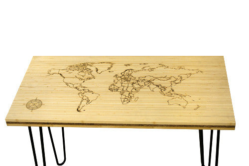 World Map Bamboo Table