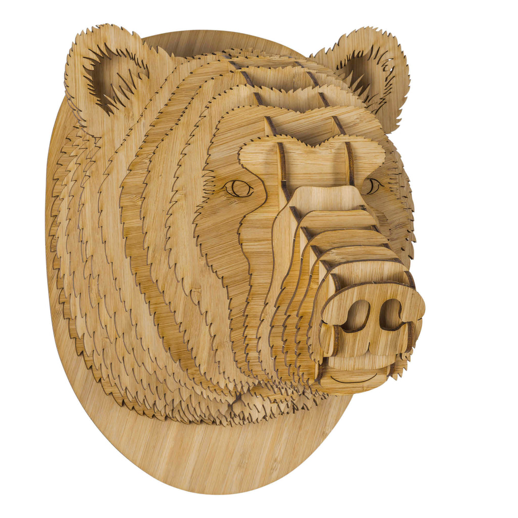 Stewart the Bamboo Wood Bear Head