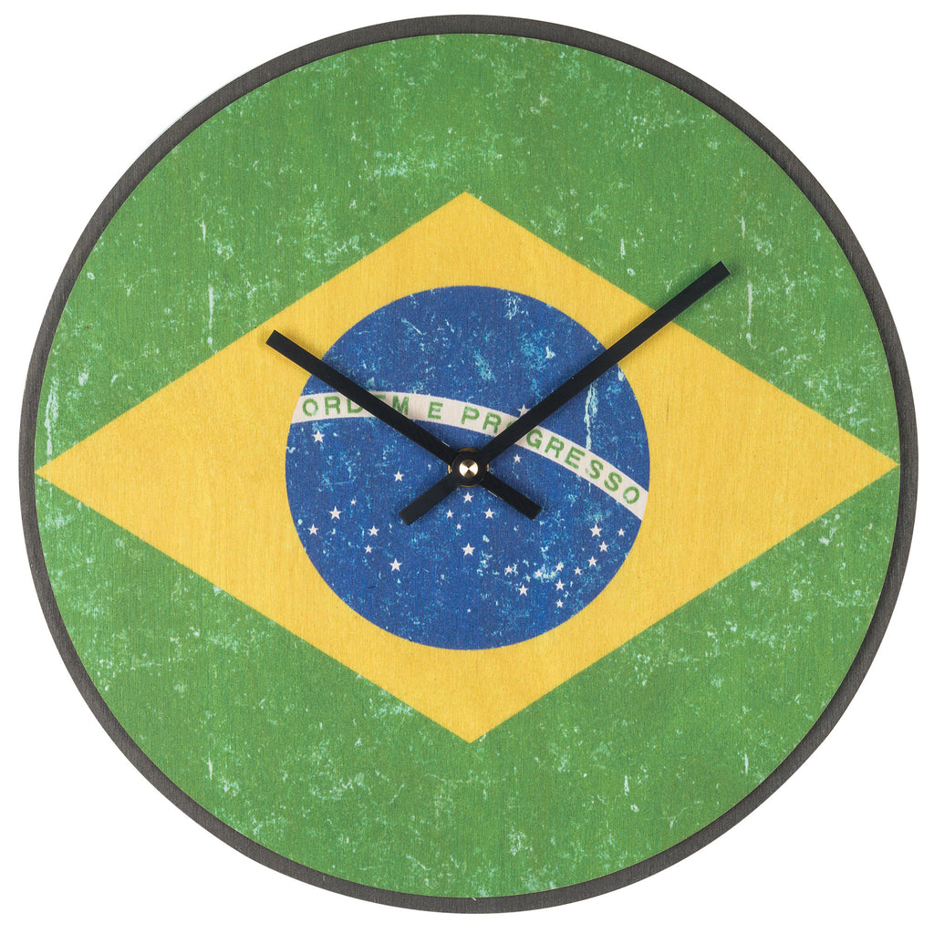 Wood Wall Clock Flag Prints Brazil