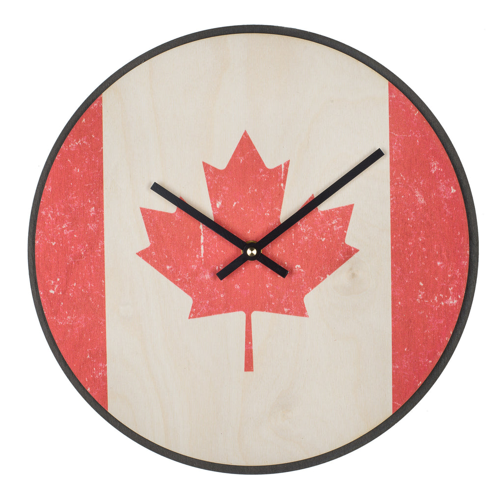 Wood Wall Clock Flag Prints Canada