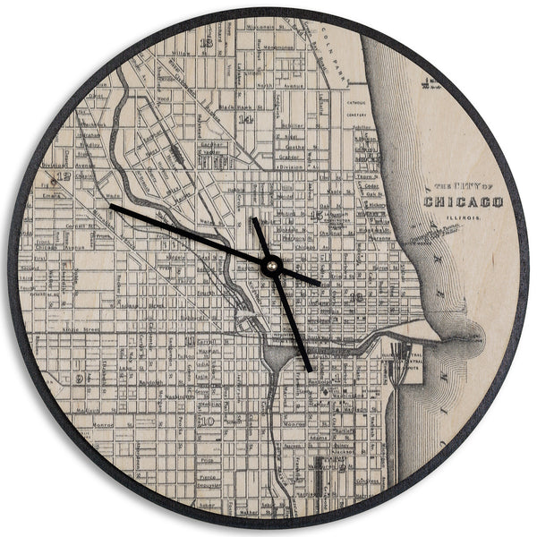 Wood Wall Clock Map Prints