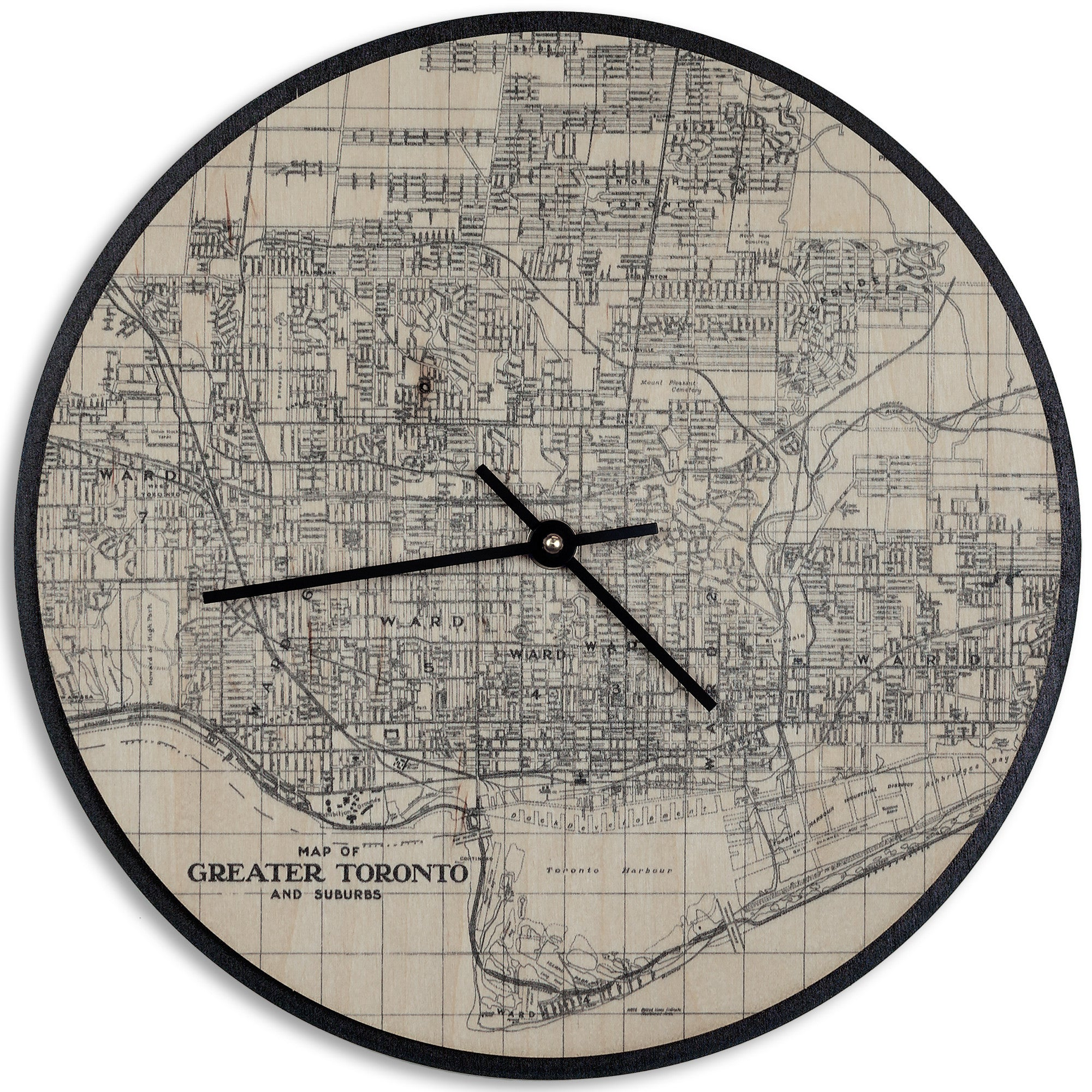 Wood wall clock map prints antler home wood wall clock map prints ccuart Choice Image