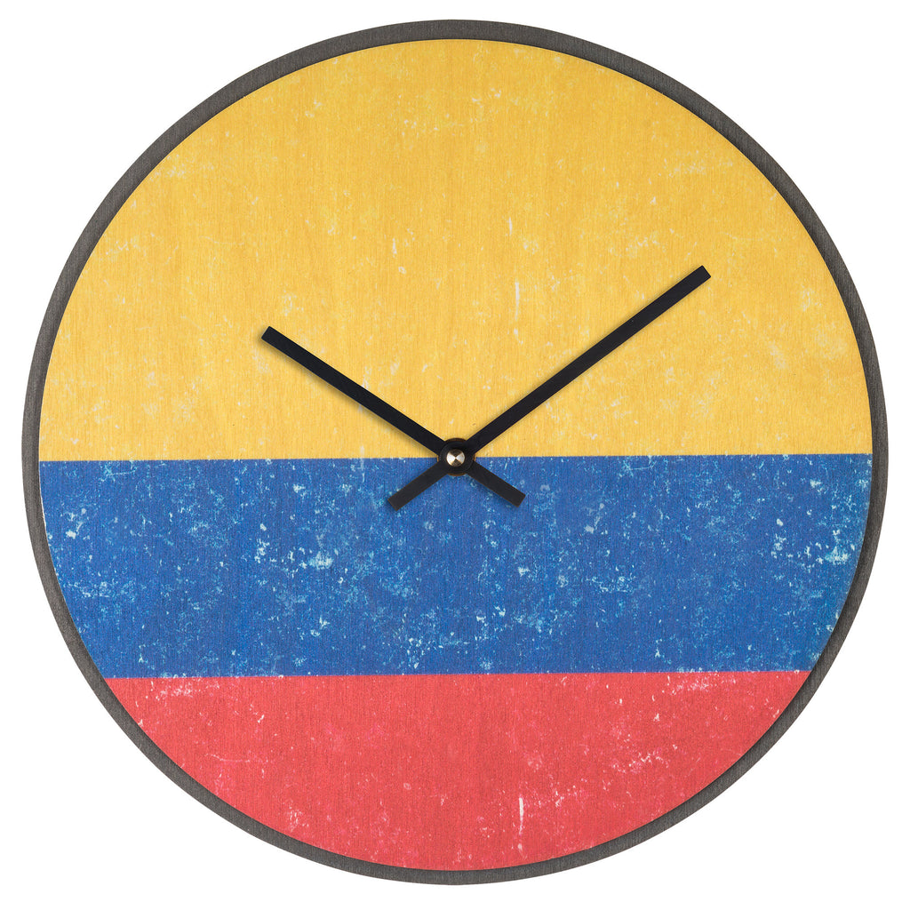 Wood Wall Clock Flag Prints Columbia